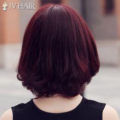 Fluffy Siv Hair Neat Bang Medium Human Hair Wig For Women
