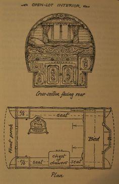 Caravan Gypsy Vardo Wagon:  Interior floorplan of an Open-Lot #Gypsy wagon.