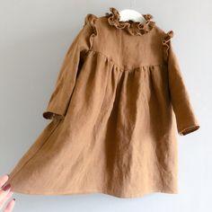 - linen - ruffle collar detail - shoulder ruffles - long sleeve - wood buttons on back Baby Summer Dresses, Girls Spring Dresses, Dresses For Tweens, Baby Girl Dresses, Vintage Baby Dresses, Dress Girl, Toddler Girl Style, Toddler Girl Outfits, Toddler Dress