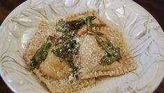 Homemade Whole-Wheat Sweet Potato Ravioli..... eh, it was pretty doughy and chewy. maybe better in a thick chunky sauce...