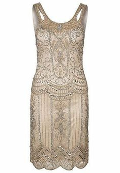 Nude Beige Sequin Charleston Flapper UK 10 12 14 Gatsby Dress 1920's Art Deco | eBay