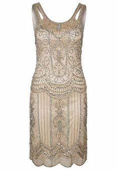 Nude Beige Sequin Charleston Flapper UK 10 12 14 Gatsby Dress 1920's Art Deco   eBay