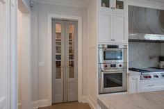 Painted Pantry Doors, Kitchen Pantry Doors, Glass Pantry Door, Kitchen Cabinets, Custom Interior Doors, Custom Wood Doors, Double Doors Interior, Interior Design, Double Glass Doors