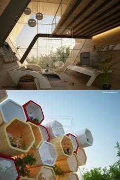 Hogares futuristas, a semejanza de los hexágonos tradicionales que tienen las abejas en sus colmenas. Al final, todo se traduce en diseño con polígonos simples y funcionales.