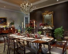 Traditional Dining Room with Chandelier Setting up Formal Dining Room Furniture (dark color) Dining Room Paint Design, Dining Room Sets, Dining Room Furniture, Brown Accent Wall, Cracker House, Mahogany Dining Table, Classic Dining Room, Mahogany Furniture, Beautiful Dining Rooms