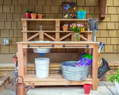 Learn how to build a custom work table for your gardening and outdoor chores. We outfitted this bench with a dry sink, tool storage and plenty of shelving.