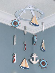 Nautical Nursery Mobile Wooden Baby- Sailboat Anchor Lighthouse Wheel, FlutterBunnyBoutique