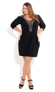 Black Deep V City Chic Rock Dress