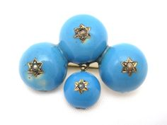 Blue Enamel Brooch - Victorian 9k Gold and Seed Pearl Jewelry