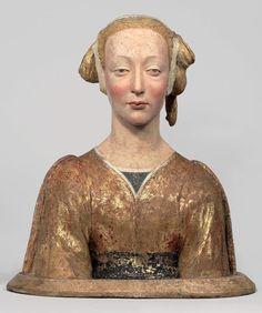 Entourage de Desiderio da Settignano - Sainte Constance dite La belle Florentine, 3e quart du XVe siècle, Bois polychrome - 55 x 47 x 27 cm | Paris, Musée du Louvre