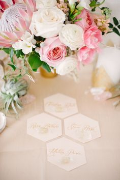 hexagon escort cards, photo by Blush Wedding Photography http://ruffledblog.com/modern-tropical-wedding-inspiration #weddingideas #escortcards