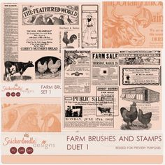 Farm Brushes and Stamps Duet 1 by #SnickerdoodleDesigns   Save on the duet:  A set of 16 vintage farm-related graphics, taken from 1915 newspapers.   (16) vintage, farm-related graphics; PNG format; 300 dpi (4) ABR files, 1 for CS5 and below, 1 for CS6 and higher