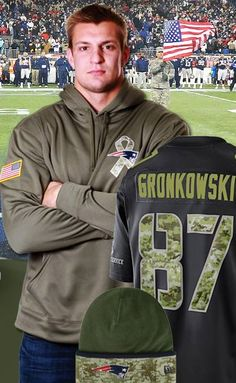 Rob Gronkowski - New England Patriots (TE) Da-yum, Gronk! Maybe it's that Military green, but then again I think he fills out that sweatshirt quite nicely.