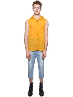Sunflower orange yellow sheer sleeveless hooded top from Chin Mens featuring a button front with black buttons, and a classic hood.  Measurements: Item fits true to size. Model Measurements: Height (Cm): 189 Bust/Chest (Cm): 93 Waist (Cm): 72 Hips (Cm): 86 Model is wearing size: M  Item ID: CHM201701004 Composition: 100% Nylon WASHING INSTRUCTIONS: DRY CLEAN ONLY Made in Taiwan.