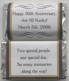 50th wedding anniversary party decorations | 50TH GOLDEN GOLD WEDDING ANNIVERSARY PERSONALIZED PARTY CANDY WRAPPERS ...