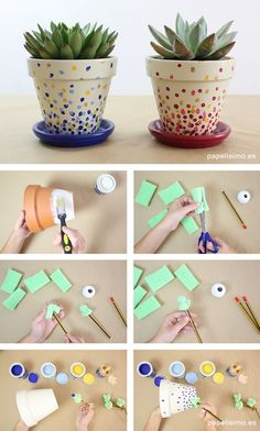 Como pintar macetas de barro lunares how to paint pots