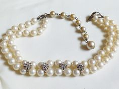"""Double strand white color pearl faux beads crystal flowers 15""""L choker necklace 