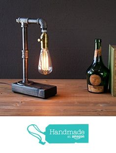 Industrial Steampunk table pipe lamp with Classic Edison bulb and weathered wood base from Urban Industrial Craft