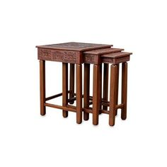 NOVICA Mohena wood and leather accent tables (Set of 3) ($364) ❤ liked on Polyvore featuring home, furniture, tables, accent tables, side tables, table, brown, homedecor, end grain table and leather end tables