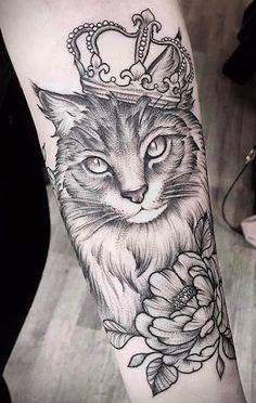 As 100 melhores tatuagens de gatos da Internet! Forearm Tattoos, Sleeve Tattoos, Cat Tattoo Designs, Sister Tattoos, Nature Tattoos, Great Tattoos, Animal Tattoos, Shoulder Tattoo, Hp Tattoo