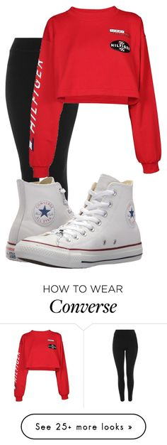 """Untitled #12160"" by xxxlovexx on Polyvore featuring Topshop, Tommy Hilfiger and Converse"