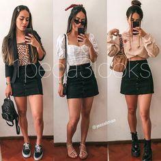 Quem gosta de um visual prático e bem versátil aposta em looks com saia preta. #1peca3looks Teen Fashion Outfits, New Outfits, Girl Fashion, Casual Outfits, Cute Outfits, Fashion Looks, Jean Dress Outfits, Denim Skirt Outfits, Summer Outfits For Teens