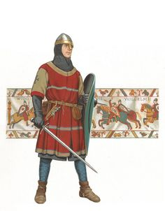 Norman knight, c. 1066 (Bayeux Tapestry in background) Bayeux Tapestry, medieval armor, knee length shirts with splits in front for riding. Medieval Knight, Medieval Armor, Medieval Fantasy, Norman Knight, Bayeux Tapestry, High Middle Ages, Armadura Medieval, Knight Armor, 11th Century