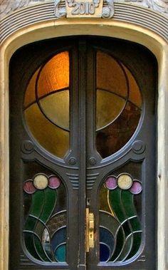 Art Nouveau Stained Glass Door in Praha, Czech Republic