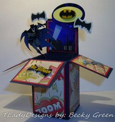 I made this card for our son's birthday. You can find more photo's & additional details on my blog here: http://tladydesigns.blogspot.com/2014/09/its-batman-time-of-year.html#comment-form