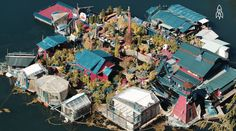 Off the Grid: A Couple Spends 24 Years Building a Floating Island Home in Canada Wooden Boat Building, Boat Building Plans, Boat Plans, Off The Grid News, Get Off The Grid, Vancouver, Waste Management System, Costa, Candle Factory
