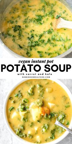 recipes easy Instant Pot Kale Potato Soup This hearty, creamy potato soup is so easy to make in the Instant Pot you'll love it for a simple, warm meal all Fall and Winter long. Serve with fresh sourdough bread for a real treat. Vegan Dinner Recipes, Soup Recipes, Whole Food Recipes, Vegetarian Recipes, Cooking Recipes, Healthy Recipes, Vegan Recipes Instant Pot, Vegan Crockpot Recipes, Vegan Recipes With Potatoes