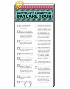 15 questions to ask on your daycare tour (printable) - Today's Parent Daycare questions - Today's Parent<br> Some daycares require a tour before you can put your child's name on the wait list. It's a good idea to check out the space, and meet potential care providers, regardless. Keep these questions handy so you don't forget what to ask about when you're there. Questions To Ask Daycare, This Or That Questions, Daycare For Infants, Toddler Daycare, Primary Caregiver, Starting A Daycare, Daycare Forms, In Home Daycare