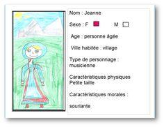 """Carte d'identité réalisée à partir du livre """"Jeanne, l'ours et le prince mendiant"""". Pour voir la notice de ce livre, il ft cliquer sur l'image."""