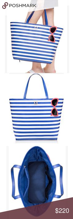 KATE SPADE MAKE A SPLASH STUNNING TOTE FANTASTIC CHRISTMAS GIFT for you OR SOMEONE SPECIAl. GREAT for SUMMER and SORING BUT ESPECIALLY if You've got a VACATION PLANNED. THIS IS A HUGE FABULOUS TOTE. FULLY LINED. ZIPPED INTERIOR POCKETS. VIBRANT, ELEGANT and TRES CHIC. SEE FULL DESCRIPTION IN PHOTO LINE UP*️⃣PRICE IS FIRM unless BUNDLED Sunglasses available in my closet! kate spade Bags Totes