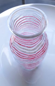 LOVE Striped Vase Red and White by GinaDavisDesigns on Etsy, $20.00