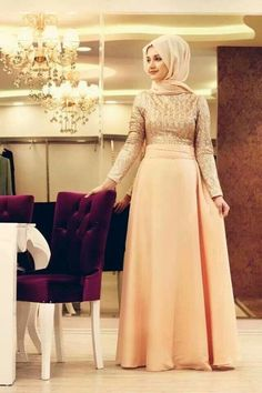 Choose Latest and Elegant Party Wear Dresses for yourself to look stylish and gorgeous on every event. Here are Elegant Party Wear Dresses 2016 for parties Hijab Evening Dress, Hijab Dress, Muslim Women Fashion, Islamic Fashion, Modest Fashion Hijab, Fashion Dresses, Hijab Chic, Turkish Hijab Style, Hijab Collection