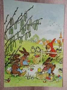 Bild: AK Postkarte Fritz Baumgarten Gackelchen und Wackelchen ... Eier bemalen