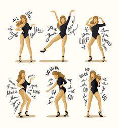 Single Ladies Typography Lyrics Poster Dance by DrawMeASong