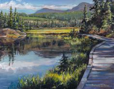 """Boardwalk at Paradise Meadows"" oil on canvas By Barbara Callow Painters, Oil On Canvas, Paradise, Landscapes, Mountains, Artist, Nature, Travel, Paisajes"