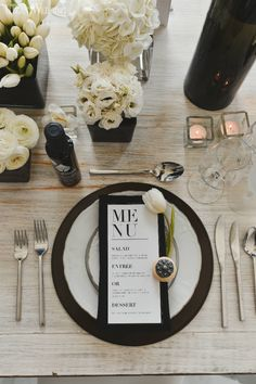 Anyone whose a fan of clean, crisp lines and sharp contrast can set aside their mood boards now. This black and white wedding theme is everything you can. Black And White Wedding Theme, Black Tie Wedding, Elegant Wedding, Fall Wedding, Dream Wedding, Black White Weddings, Minimal Wedding, Wedding Themes, Wedding Decorations
