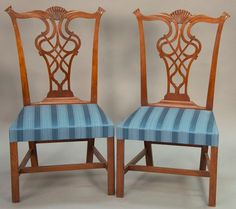 735b6d3d7770 Pair of Chippendale cherry side chairs each with shell carved crest rail  over pierced carved splat