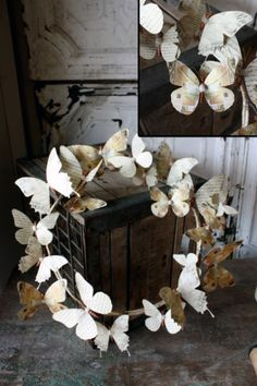This paper butterfly wreath is a product you can buy but the link takes you to a tutorial on a way that you can make this yourself.