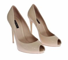 NEW $580 DOLCE & GABBANA Beige Patent Leather Open Toe Pumps Heels EU37.5 / US7 #DolceGabbana #Stilettos