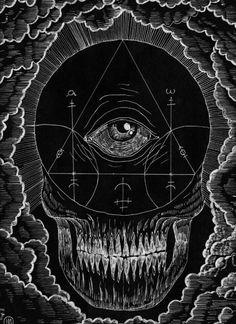 skull with magick symbols Art And Illustration, Illustrations, Fantasy Kunst, Fantasy Art, Magick, Witchcraft, Satanic Art, Arte Obscura, Occult Art