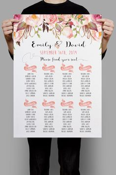 Personalized Wedding Seating Chart Table Seating plan printable Pink Floral…