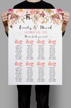 Personalized Wedding Seating Chart Table Seating plan printable Pink Floral Floral Table plan, Boho Wedding Decor DIY digital files door HappyLifePrintables op Etsy https://www.etsy.com/nl/listing/259818762/personalized-wedding-seating-chart-table