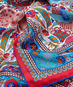 Liberty London Red Liberty London Peacock Mosaic Silk Scarf