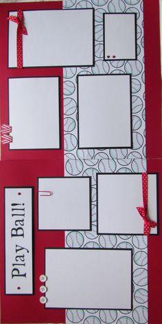 PLAY BALL 12x12 Premade Scrapbook Pages BaSEBaLL T-BaLL SoFTBaLL. $12.50, via Etsy.