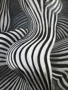 Under My Thumb. Unintentional happy accident: The background of this op-art faux zebra nude reminds me of a thumb print. Originally was just an untitled study.