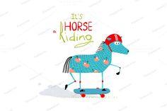 Cartoon Horse on Skateboard for Kids by Popmarleo Shop on @creativemarket